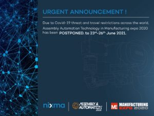 Postponement of MANUFACTURING EXPO 2020