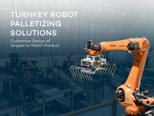 Turnkey Robot Palletizing Solution with Customizable Gripper to Match Product